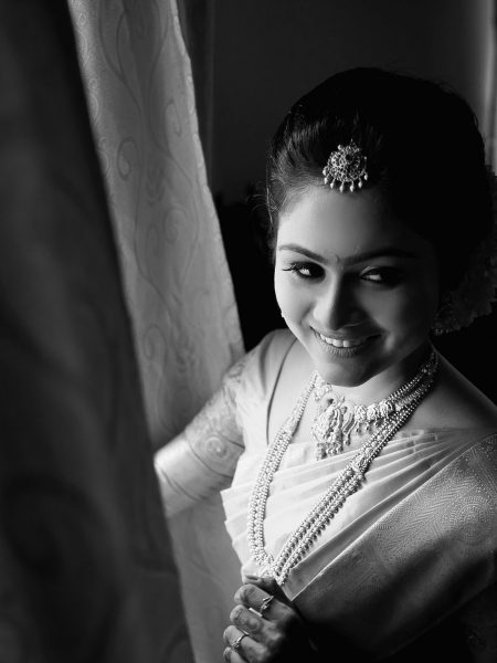 Kerala Hindu Wedding Photography, bridal portrait photography.